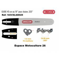 """Guide de tronçonneuse 18"""" (45cm) PAS 325"""" - Jauge .063"""" (1,6mm) de Marque OREGON"""