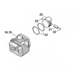 Cylindre piston ø40mm d'origine STIHL 020T - MS200T