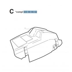 """Capot moteur d'origine HUSQVARNA 346XP - 353 """"Modèle à clipser et sans pompe d'amorçage"""""""