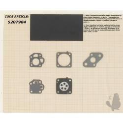 Kit membranes pour carburateur NIKKI monté sur Mitsubishi T110, T140 ,T180, T200, SNAPPER 210SST, 211ST, 2400SS, 2450