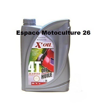 Bidon de 2 litres d'huile 4 temps de marque X-OIL 10W30 API SJ/CF, JASO MA2