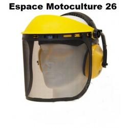Visière de protection avec écran grillagé et casque anti-bruit